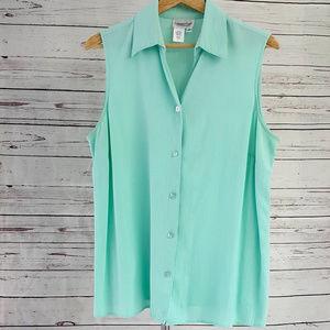 Coldwater Creek green/blue sleeveless button down